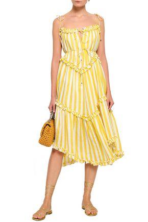 ZIMMERMANN Asymmetric ruffle-trimmed striped linen dress