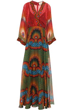VALENTINO Wrap-effect printed silk-chiffon gown