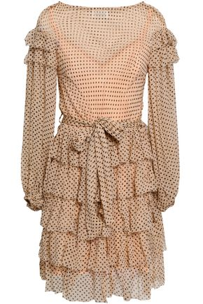 ZIMMERMANN Tiered printed silk-georgette mini dress
