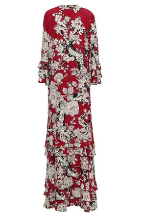 VALENTINO Ruffled floral-print silk gown