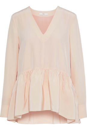 TIBI Gathered silk crepe de chine peplum top