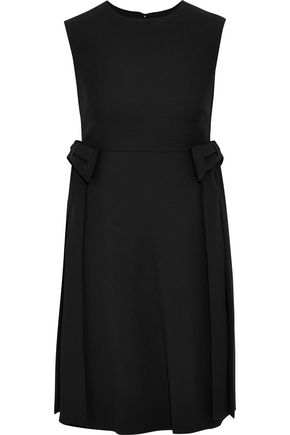 VALENTINO Bow-embellished wool and silk-blend crepe mini dress