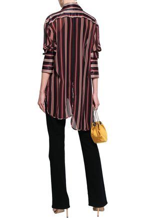 ZIMMERMANN Asymmetric striped satin-crepe shirt