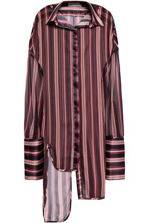 ZIMMERMANN Asymmetric striped satin-crepe shirt