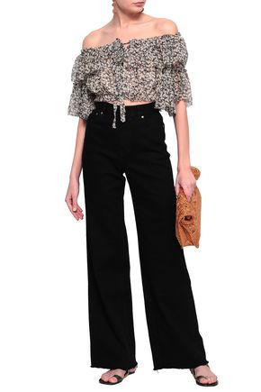 ZIMMERMANN Cropped off-the-shoulder printed silk-georgette top