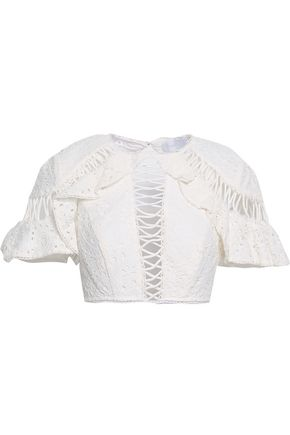 ZIMMERMANN Lovelorn Flutter cropped broderie anglaise cotton top