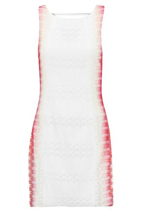 MISSONI Georgette-paneled crochet-knit mini dress