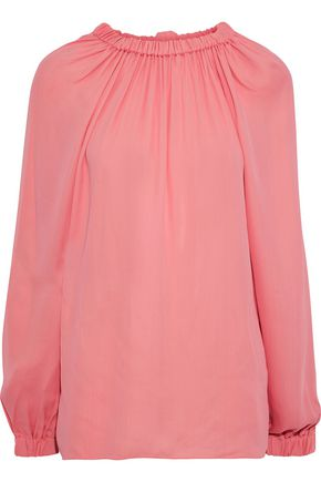 TIBI Gathered crepe de chine blouse
