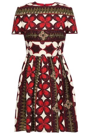 VALENTINO Printed wool and silk-blend mini dress