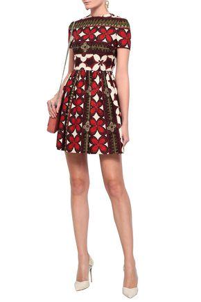 VALENTINO Printed wool and silk-blend mini dress