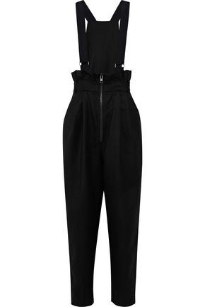 TIBI Luxe Tuxedo Paperbag convertible wool-twill overalls