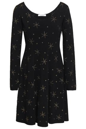 VALENTINO Metallic embroidered stretch-knit mini dress