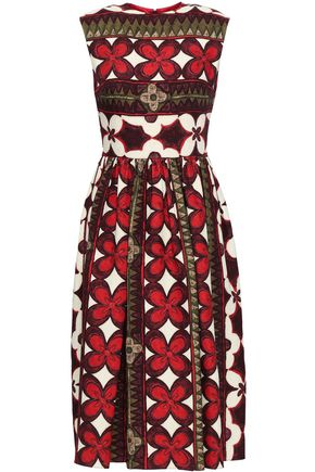 VALENTINO Printed wool and silk-blend dress