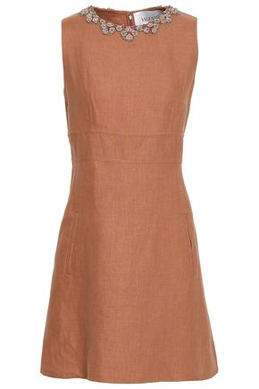 VALENTINO Embellished linen mini dress