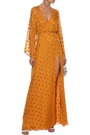 MICHELLE MASON Fil coupé silk-blend chiffon maxi wrap dress