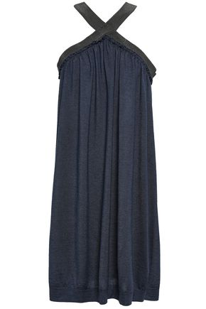 BRUNELLO CUCINELLI Bead-embellished cashmere and silk-blend halterneck dress