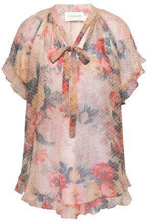 ZIMMERMANN Pussy-bow floral-print fil coupé silk-blend blouse
