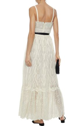 VALENTINO Belted broderie anglaise cotton-blend maxi dress