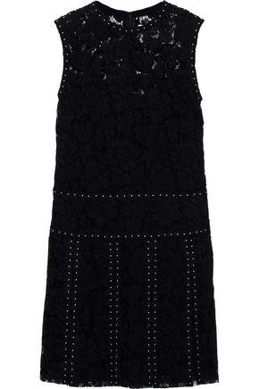 VALENTINO Studded silk-blend lace mini dress