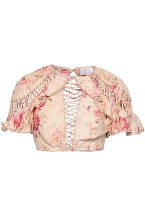 ZIMMERMANN Corsair Flutter cropped floral-print linen top