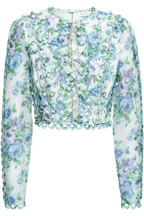 ZIMMERMANN Cropped button-embellished floral-print linen top