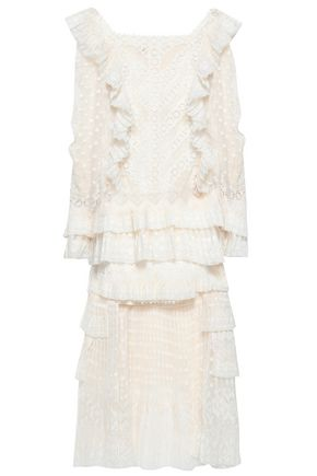 ZIMMERMANN Tiered ruffled broderie anglaise and fil coupé dress