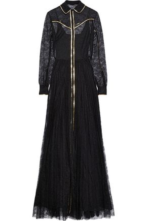 VALENTINO Metallic leather-trimmed silk-lace gown