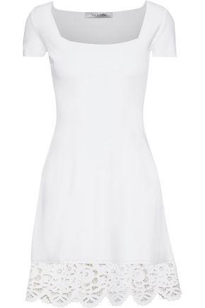 VALENTINO Broderie anglaise ponte mini dress