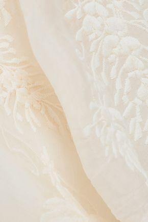 ZIMMERMANN Embroidered silk-organza top