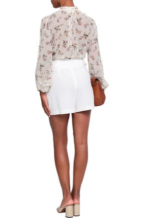 ZIMMERMANN Whitewave pintucked lace-trimmed floral-print georgette blouse