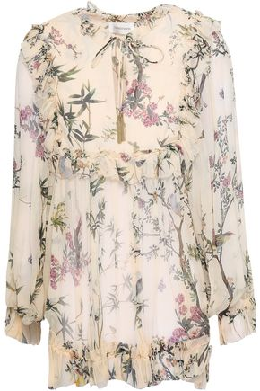 ZIMMERMANN Ruffled floral-print silk-georgette blouse