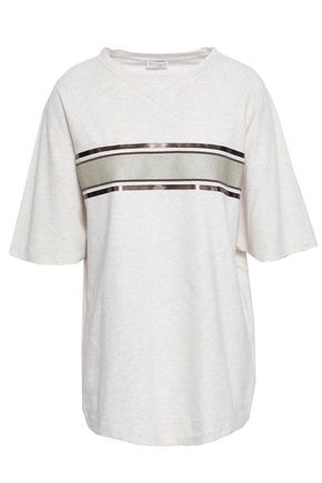 BRUNELLO CUCINELLI Bead-embellished striped stretch-cotton T-shirt