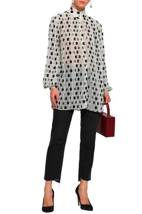 ZIMMERMANN Rife pleated polka-dot chiffon blouse