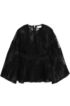 ZIMMERMANN Embroidered silk-organza top