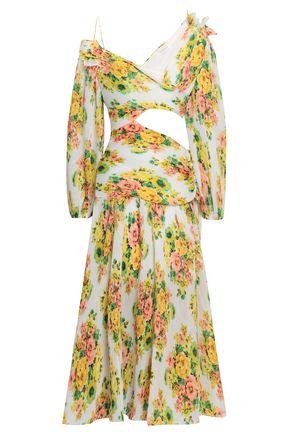 ZIMMERMANN Cutout plissé floral-print georgette midi dress