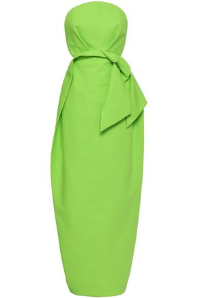 DELPOZO Strapless bow-embellished two-tone cotton-canvas gown