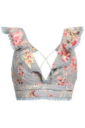 ZIMMERMANN Mercer Flutter Frill cropped floral-print linen and cotton-blend top
