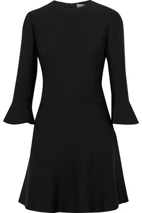 VALENTINO Fluted wool and silk-blend crepe mini dress