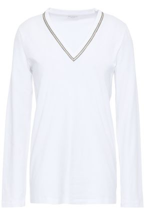 BRUNELLO CUCINELLI Embroidered cotton-blend jersey top