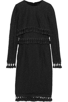 BADGLEY MISCHKA Tassel-trimmed open-knit cotton-blend dress