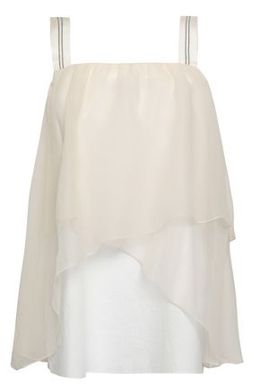 BRUNELLO CUCINELLI Layered cotton-blend organza top