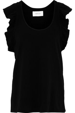 CURRENT/ELLIOTT The Cadence frayed ruffle-trimmed cotton-jersey tank