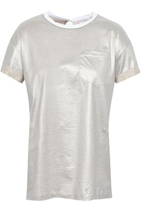 BRUNELLO CUCINELLI Embellished cotton-lamé T-shirt
