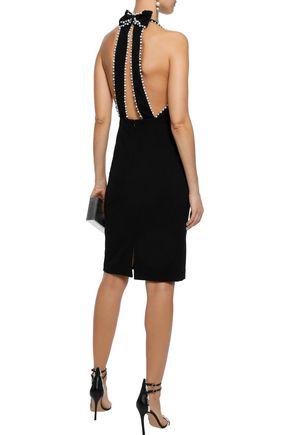 BADGLEY MISCHKA Embellished cady halterneck dress