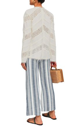 ZIMMERMANN Paneled crochet and linen blouse