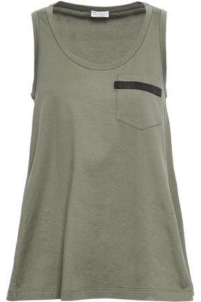 BRUNELLO CUCINELLI Bead-embellished cotton-jersey tank