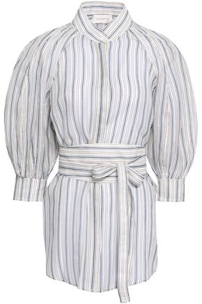 ZIMMERMANN Belted striped linen and silk-blend gauze shirt