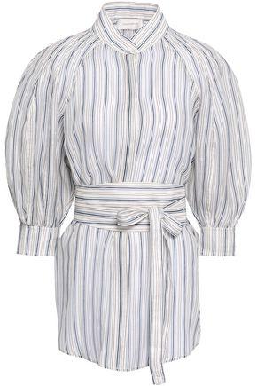 ZIMMERMANN Belted striped linen and silk-blend gauze shirt