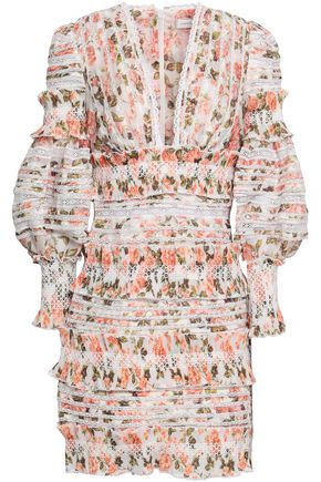 ZIMMERMANN Radiate lace-trimmed linen and silk-blend mini dress