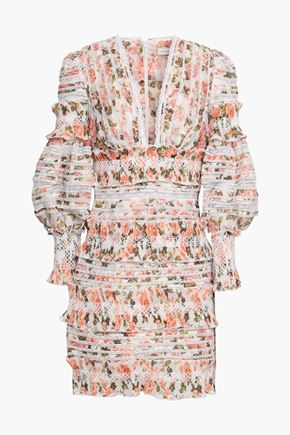 ZIMMERMANN Lace-trimmed floral-print linen and silk-blend gauze mini dress